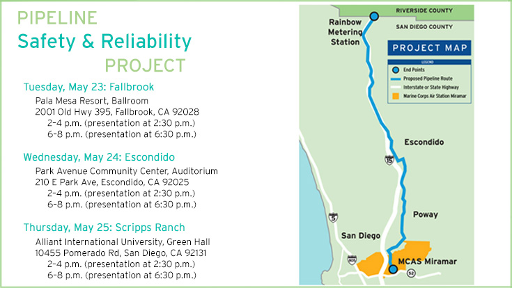 As part of our efforts to create the utility of the future, we have proposed to build a new, state-of-the-art natural gas pipeline that would start in Rainbow near the Riverside County line and connect with another pipeline on Marine Corps Air Station (MCAS) Miramar.