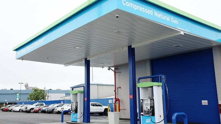 A new, bright blue canopy for sun and rain protection, energy efficient LED lights, more powerful compressors to improve fill speed and reliability, and expanded tanks for higher fuel capacity – these are all upgrades to the recently refurbished SDG&E compressed natural gas (CNG) fueling station off Miramar Road near Commerce Avenue.