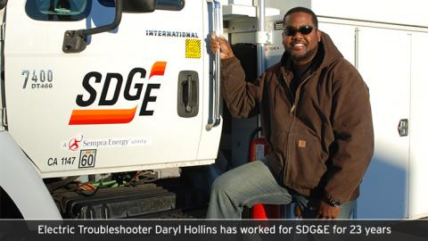 Electric Troubleshooter Daryl Hollins has worked for SDG&E for 23 years